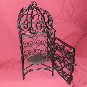 Candle Holder/Filigree/ Black/ Bird Cage style/New